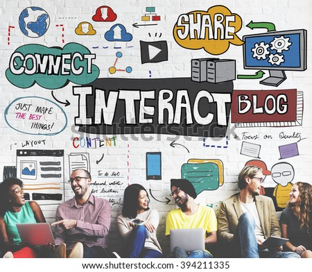 Interact Interactive Connection Interface Multimedia Concept - stock photo