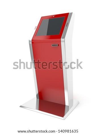 Interactive kiosk on white background - stock photo