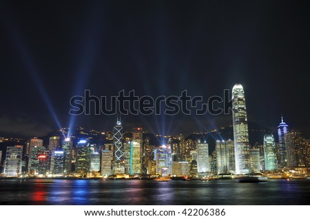 """Interactive lights show """"A Symphony of Lights"""" in Hong Kong - stock photo"""