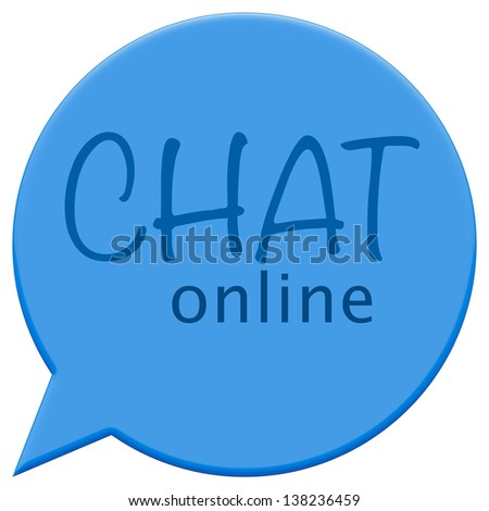 Interactive online chat icon in blue - stock photo