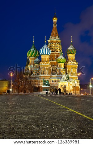Intercession Cathedral at Red Square in winter night. Moscow, Russia - stock photo