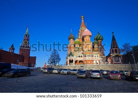 Intercession Cathedral (St. Basil's) at  Moscow in winter, Russia - stock photo