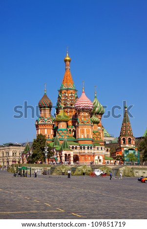 Intercession Cathedral (St. Basil's) at  Moscow, Russia - stock photo