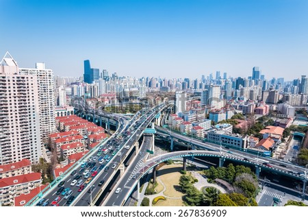 interchange bridge and viaducts on traffic rush hour  - stock photo