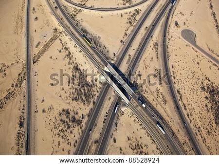 Interchange of Interstate 8 and 10 near Casa Grande, Arizona - stock photo