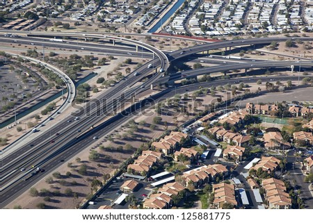 Interchange of Interstate 10 and U.S. Route 60 (Superstition Freeway) - stock photo