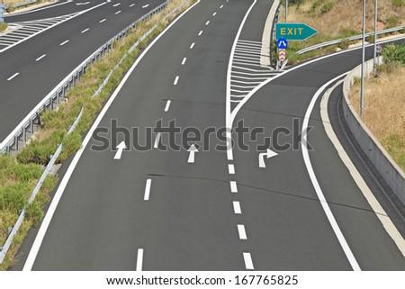 Interchange on egnatia motorway in Greece - stock photo