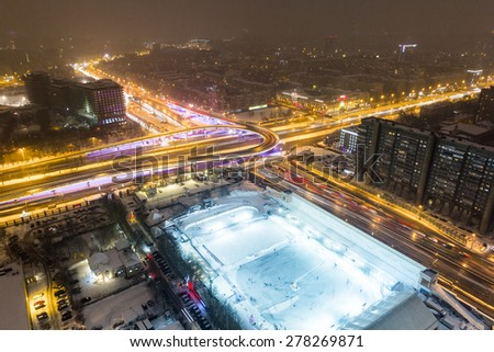 Interchange. Third Ring Road and Leningradsky Avenue, Moscow. - stock photo