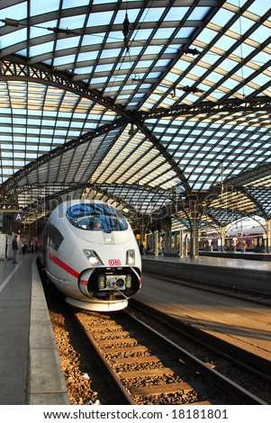 Intercity Express (ICE) train at railway station in Cologne, Germany - stock photo