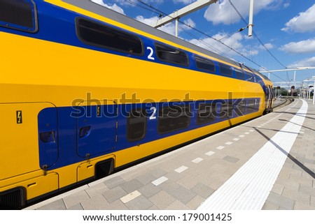 Intercity train at Arnhem Central Station, The Netherlands  - stock photo