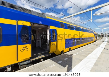 Intercity train in The Netherlands  - stock photo