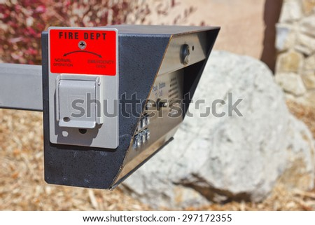 Intercom dial box with an emergency open switch for the fire department.  - stock photo