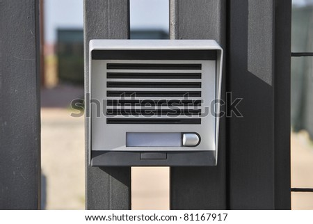 Intercom. Electronic device for intercommunication. Security system - stock photo