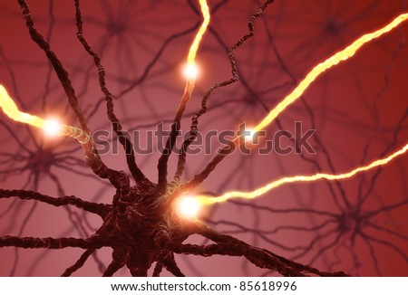 Interconnected neurons transferring information with electrical pulses. - stock photo
