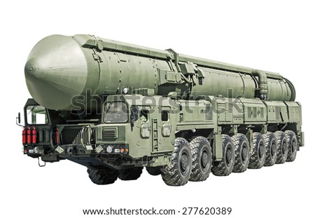 intercontinental ballistic missile mobile isolated on white background. Russian military equipment