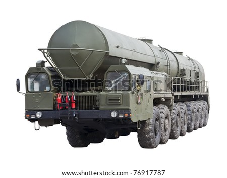 intercontinental ballistic missile Topol-M is isolated on a white background - stock photo