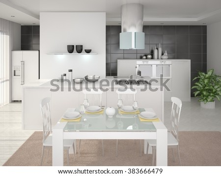 Interer kitchen with a cozy design, 3d rendering. - stock photo