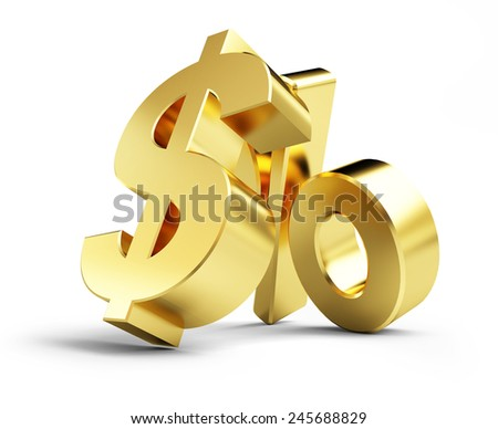 interest, gold dollar sign, on a white background 3d illustrations - stock photo
