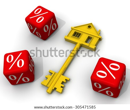 Interest on the mortgage. Keys of the house and red cubes with percent on white surface. Financial concept