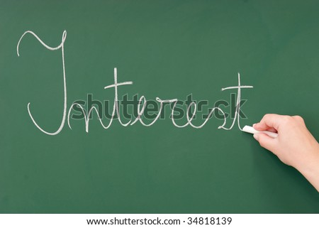 Interest written on a blackboard with chalk - stock photo