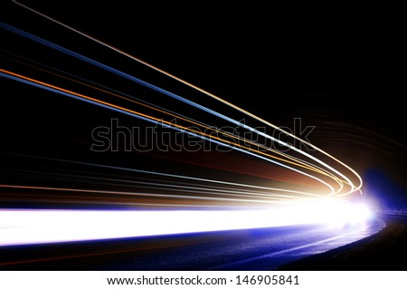 Interesting and abstract lights in orange, blue and white that can be used as background or texture - stock photo