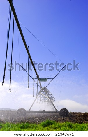 Interesting angle of an irrigation system on a farm