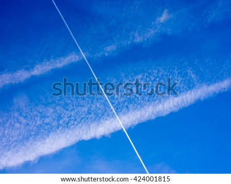 interesting blue sky with cluuds, background - stock photo