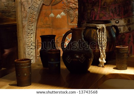 Interesting clay pots in an ancient interior