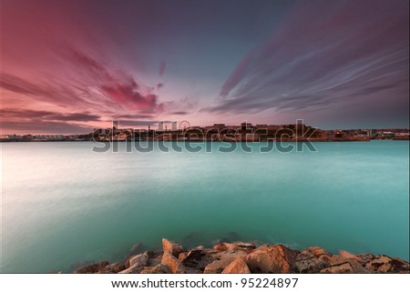 Interesting cloud formation over Plymouth, UK, - stock photo