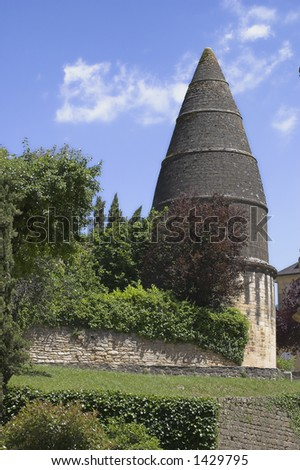 Interesting cone-shaped roof on a building on church grounds in Sarlat, France.