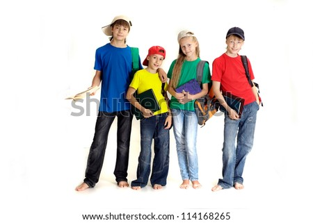 Interesting family in bright T-shirts on a white background - stock photo