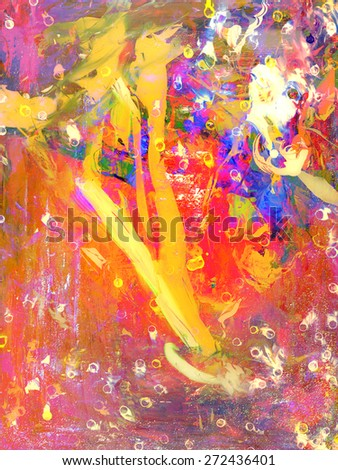 Interesting Figurative Painting in Oil On Glass - stock photo