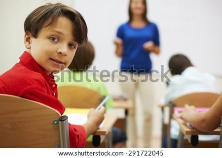 Interesting lesson thanks to our teacher - stock photo