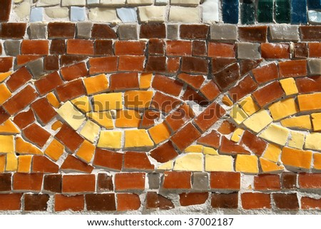 Interesting mosaic detail - decorative and colorful tiles. Background art.