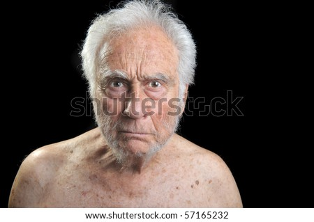 Interesting Portrait of an angry senior Man - stock photo