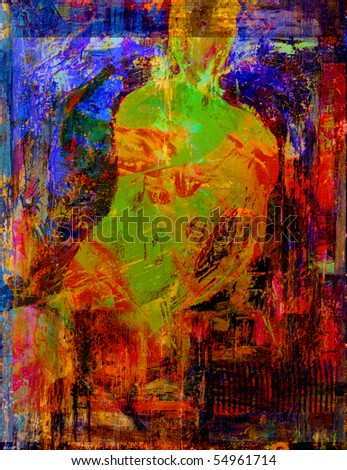 Interesting Very abstract Oil Painting On Canvas - stock photo