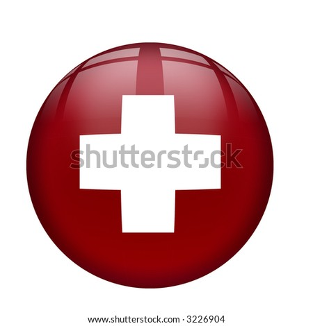 Interface glassy  orb button with Swiss Flag