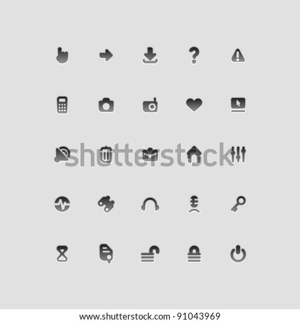 Interface icons for computer programs and web-design. Raster version. Vector version is also available. - stock photo