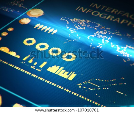 interface map on monitor, closeup - stock photo