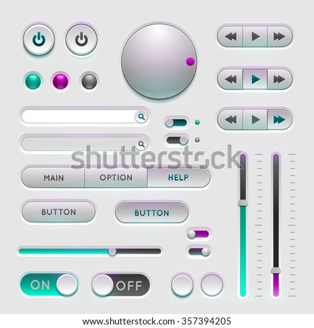 Interface web ui elements. Buttons, Switchers and Slider on gray background - stock photo