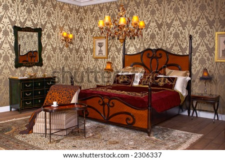 Interior a royal bedroom - stock photo