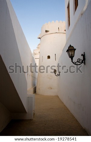 Interior alley in old fort in Abu Dhabi in UAE in Middle East - stock photo