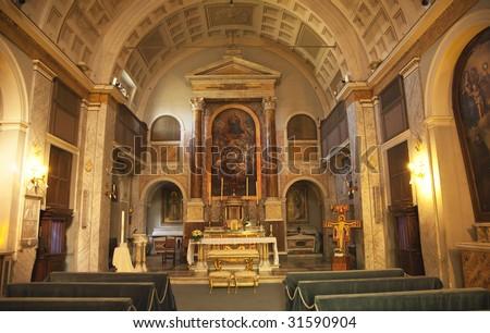 Interior Altar Paintings, Saint Sebastian San Sebastiano Al Palatino Saint Sebastian Basilica Palantine Hill Rome Italy - stock photo