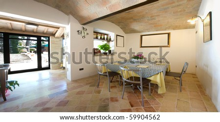 Interior ancient restaurant - stock photo