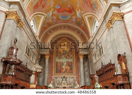 Interior and altar of Esztergom Cathedral, Hungary.
