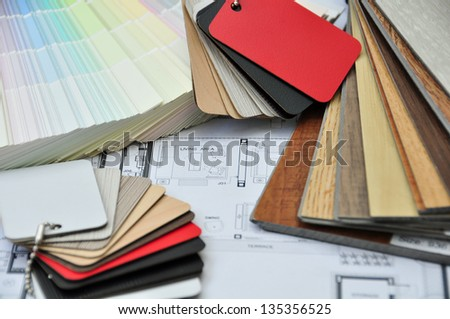 Interior and Architectural drawing with colors and material samp - stock photo