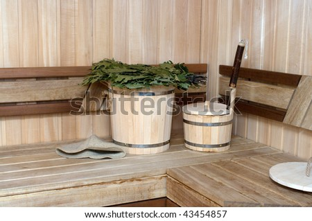 Interior and attributes of a pair Russian bath. - stock photo