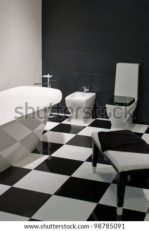 Interior and decorate bathroom with accessories - stock photo
