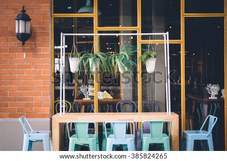 Interior and decoration in front of a coffee shop. - stock photo