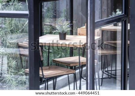 Interior and decoration of a coffee shop, coffee cafe - stock photo